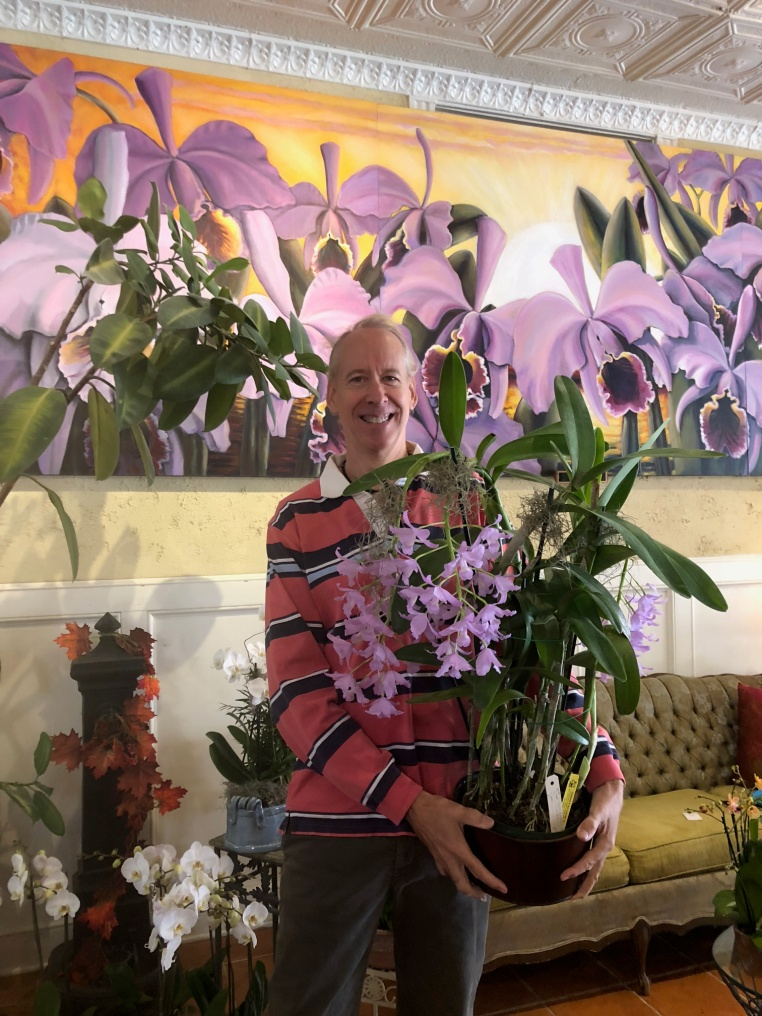 Arthur E. Chadwick with a 40-year-old cattleya orchid