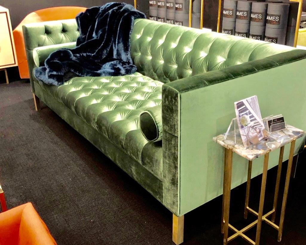 This Jimmy DeLaurentis Capri sofa was a show stopper in their bright green Juniper velvet.