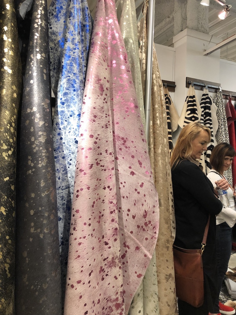 I loved these hides at Saddleman's that have bright metallic finishes applied to them---so unusual! One of these would look great in a teenager's room.