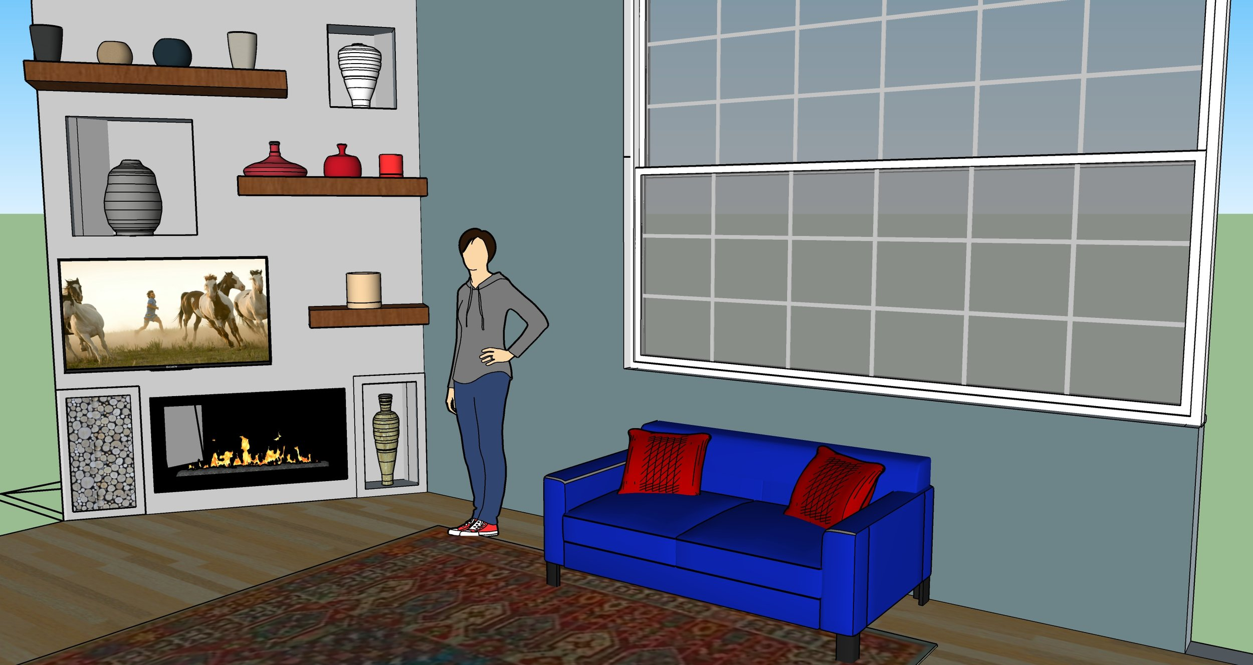 3-D drawing of re-designed fireplace with floating shelving.