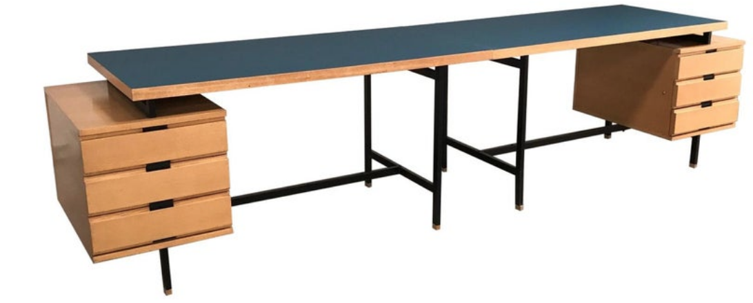 Double Desk, for Minvielle in ash and Formica, 1955
