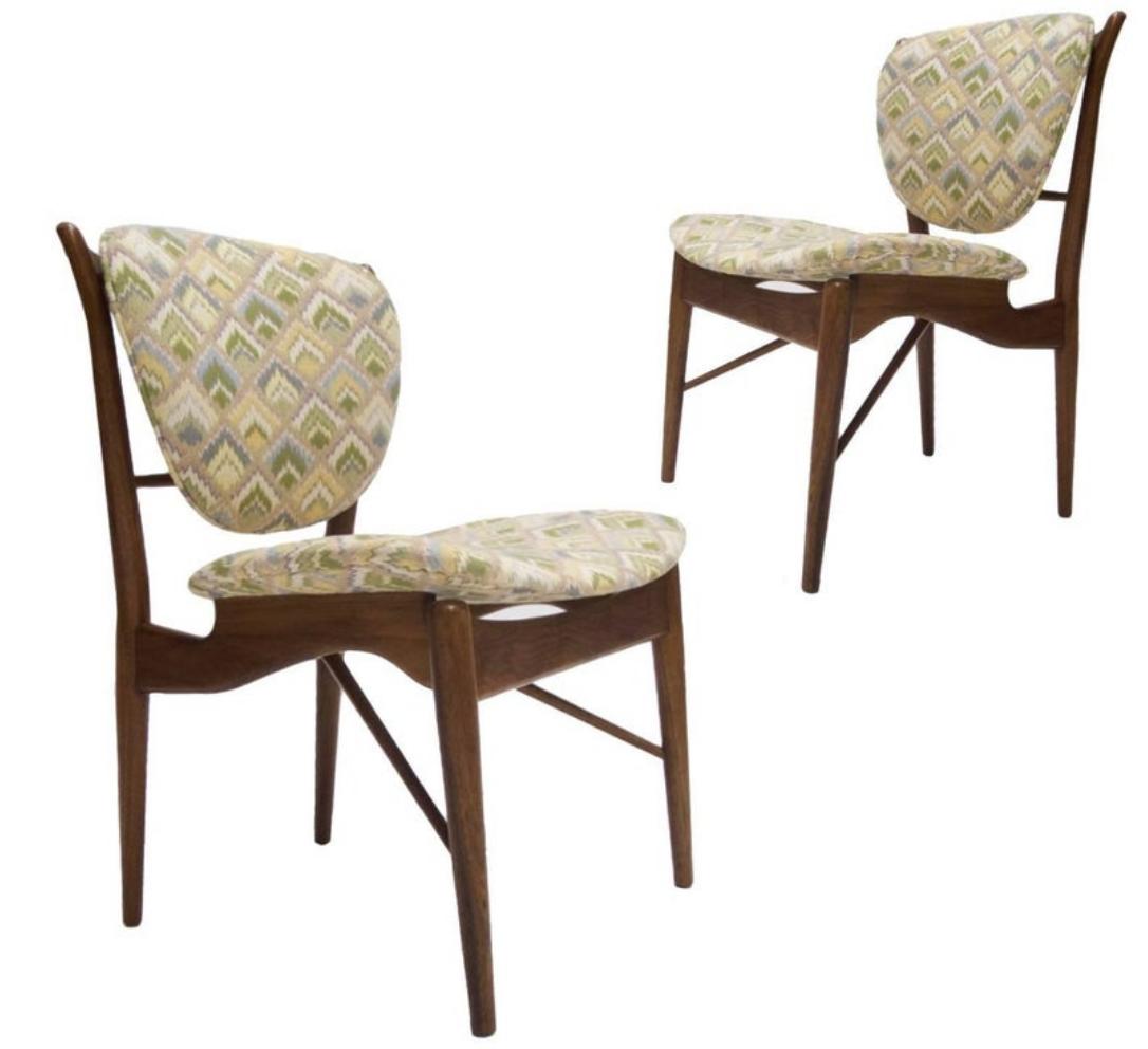 Pair of Finn Juhl NV-51 for Baker Furniture Desk Chairs, 1960s
