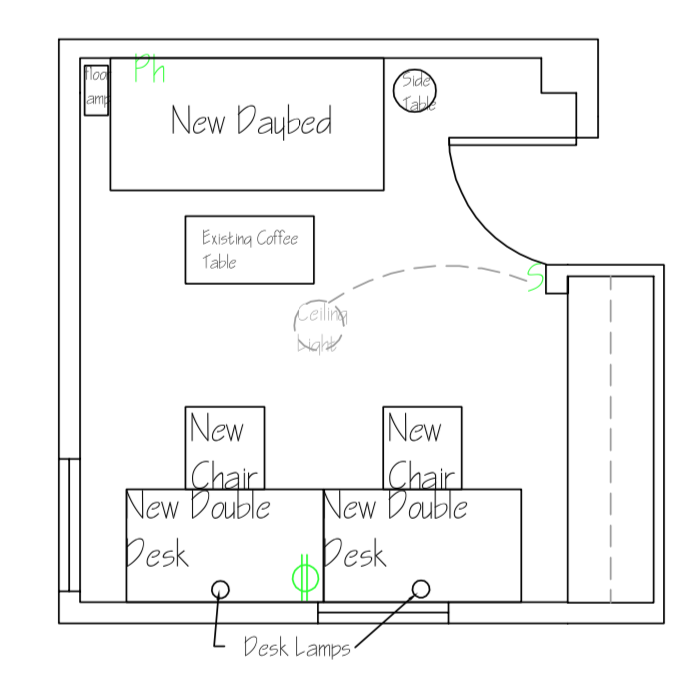 Scaled Floor Plan Drawing of Partner Office