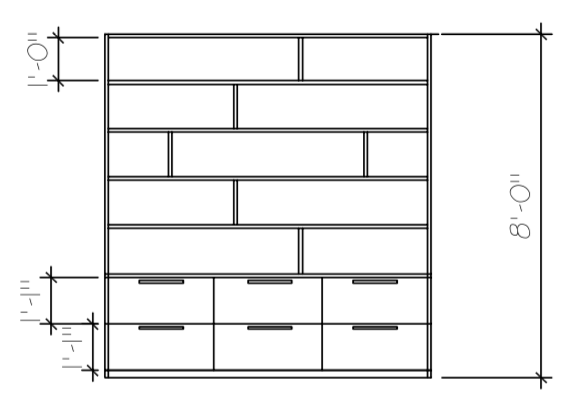To-scale concept drawing of built-in bookcase