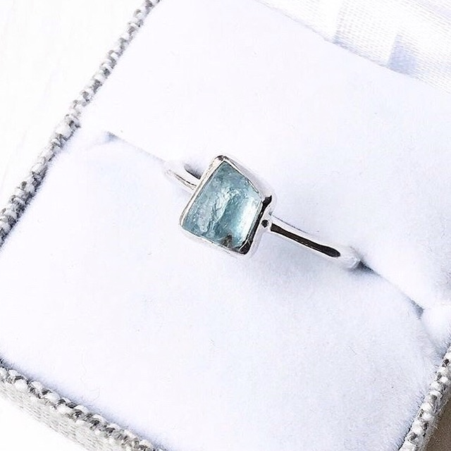 Natural Aquamarine engagement ring.