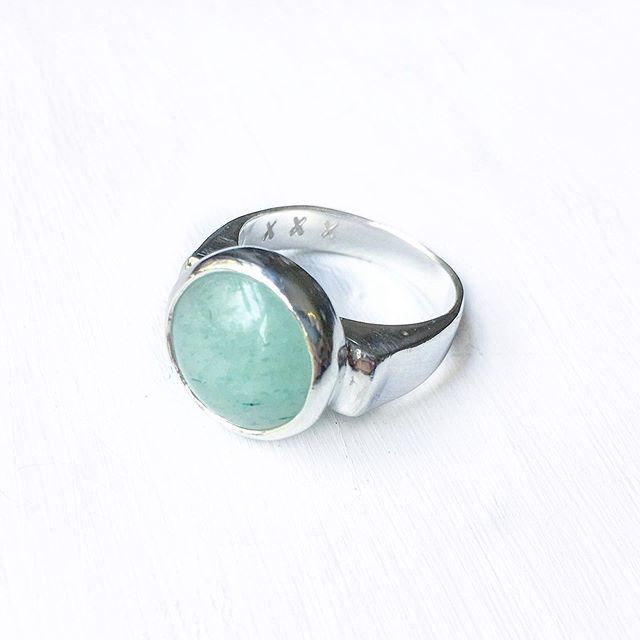A chunky custom ring I made for someone special ♥ I'm so happy with how this one turned out, hand forged using recycled sterling silver and set with an Aventurine stone. Aventurine encourages positivity, optimism and good luck :)✨