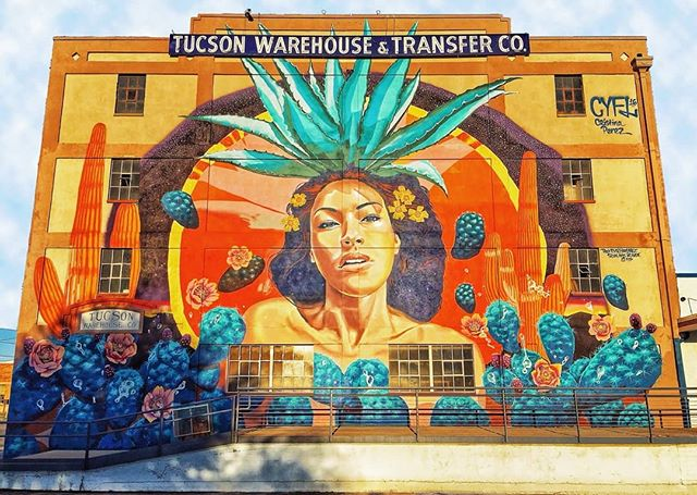 """Must admit, never thought I'd enjoy Arizona, but Tucson came through. Went on a tour of the city's local murals, where I sawthis 60ft art piece of Mayahuel (""""goddess of agave""""). Check my story to see more murals and highlights from my stay in Tucson! - - - I'm about 100miles away fromNew Mexico, so check out the link in bio for more updates! #CodeXInspire - - - #tucson #arizona #uofa #wildcats #beardown #murals #code #coding #programming #cycling #bike #biking #touring #bikelife #art #artlife #college #football #muralsoftucson"""