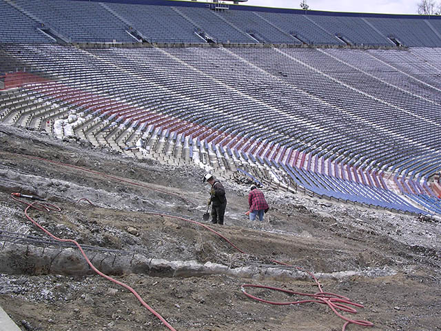Crews replaced concrete and swapped out the last original redwood bleachers and fiberglass covers for aluminum.