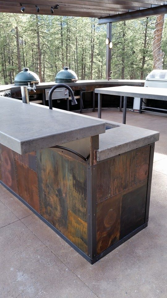 ECC Handpressed Concrete Outdoor Kitchen Countertop with custom Patinaed Steel.jpg
