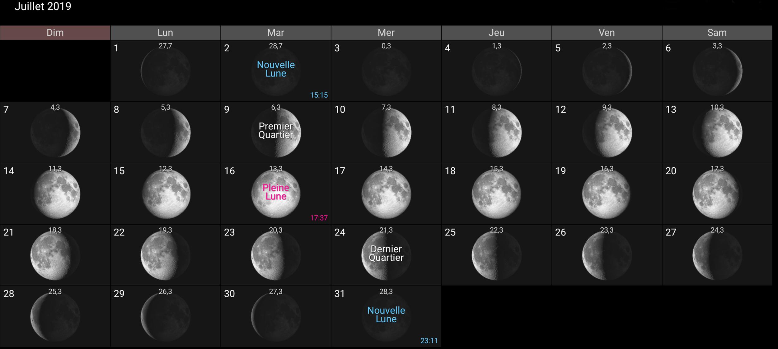 Les phases de la Lune pour de juillet 2019