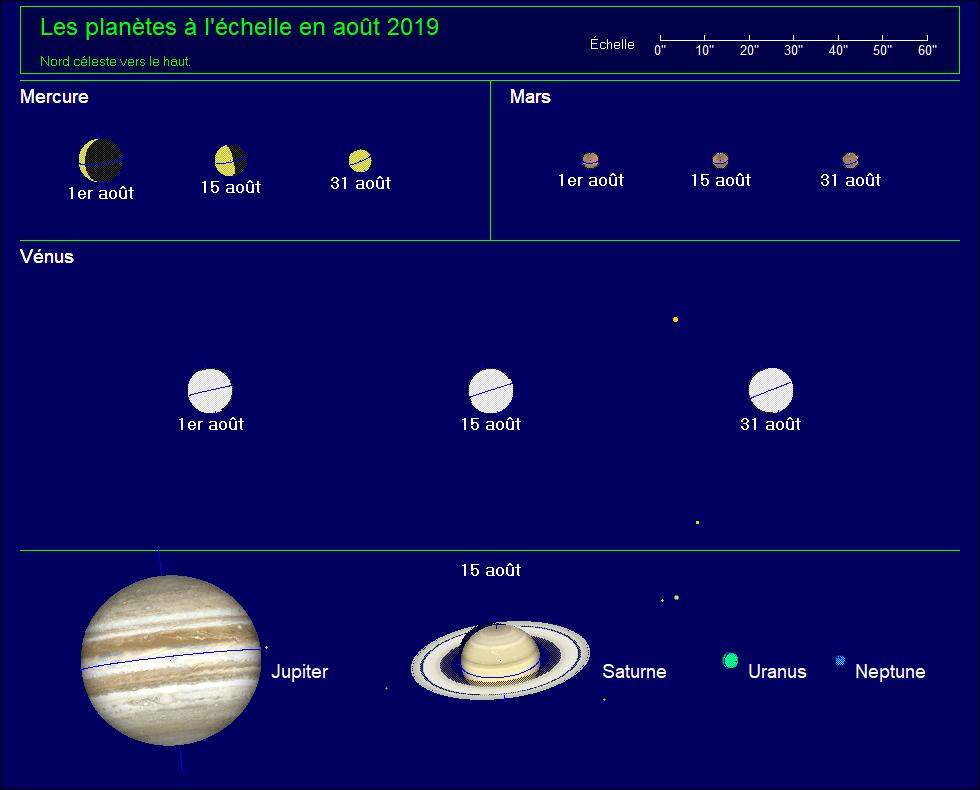 Les planètes à l'échelle pour le mois d'août 2019