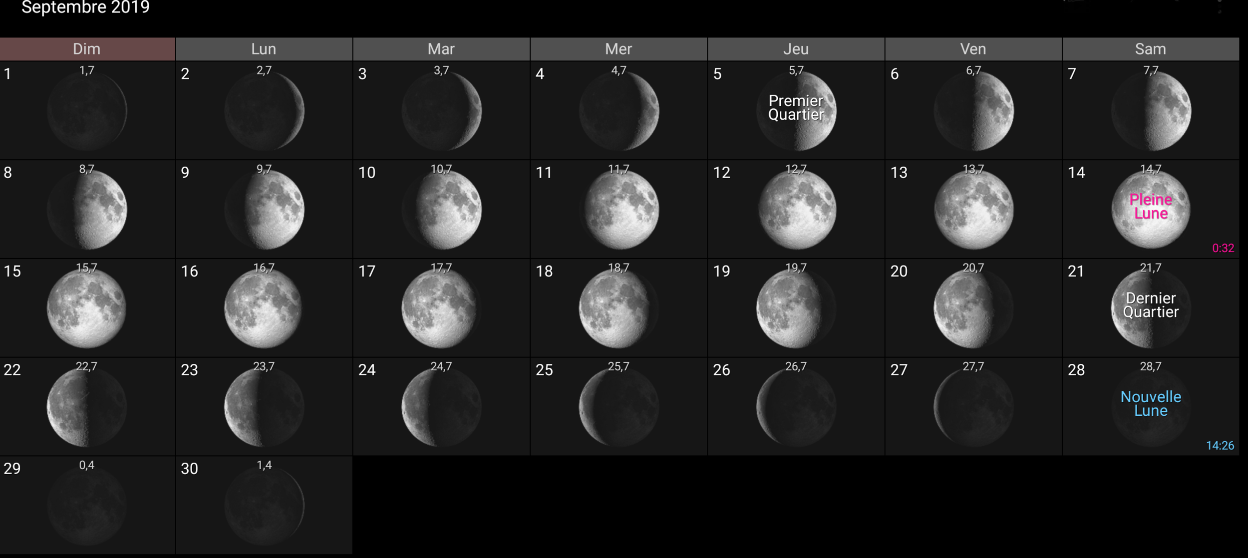 Les phases de la Lune pour le mois de septembre 2019