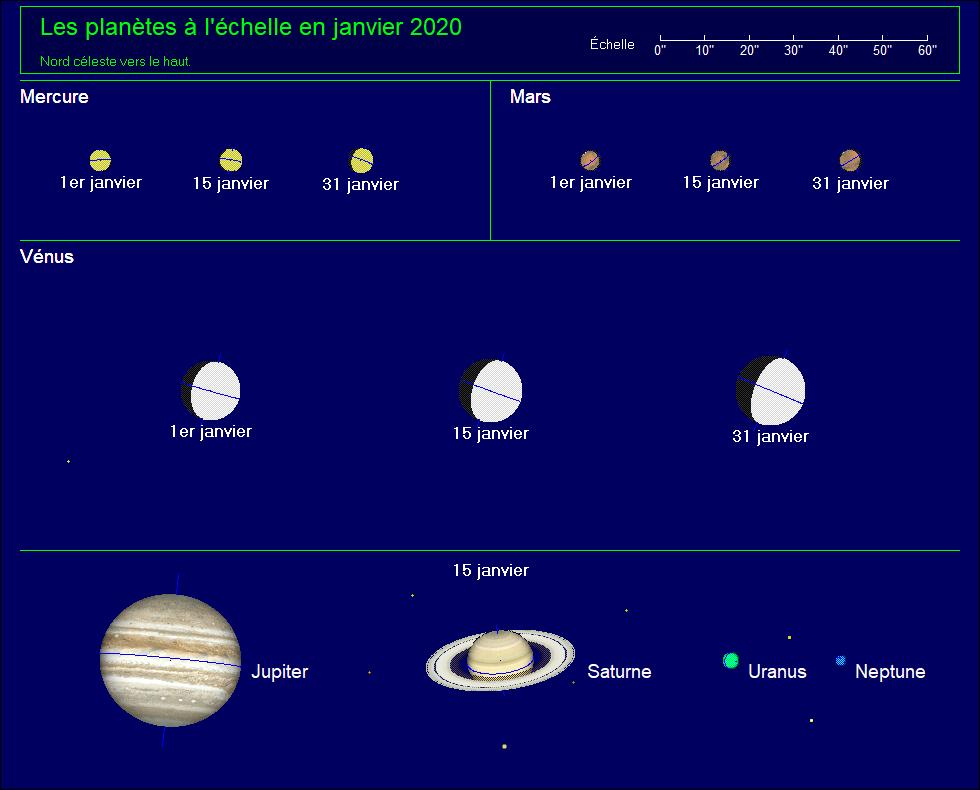 Les planètes à l'échelle pour le mois de Janvier 2020