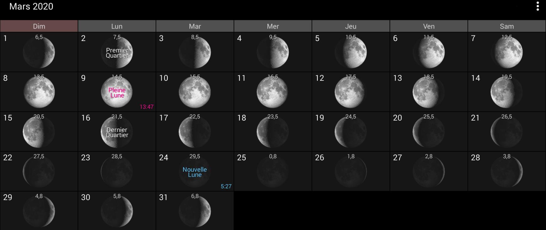Les phases de la Lune pour mars 2020