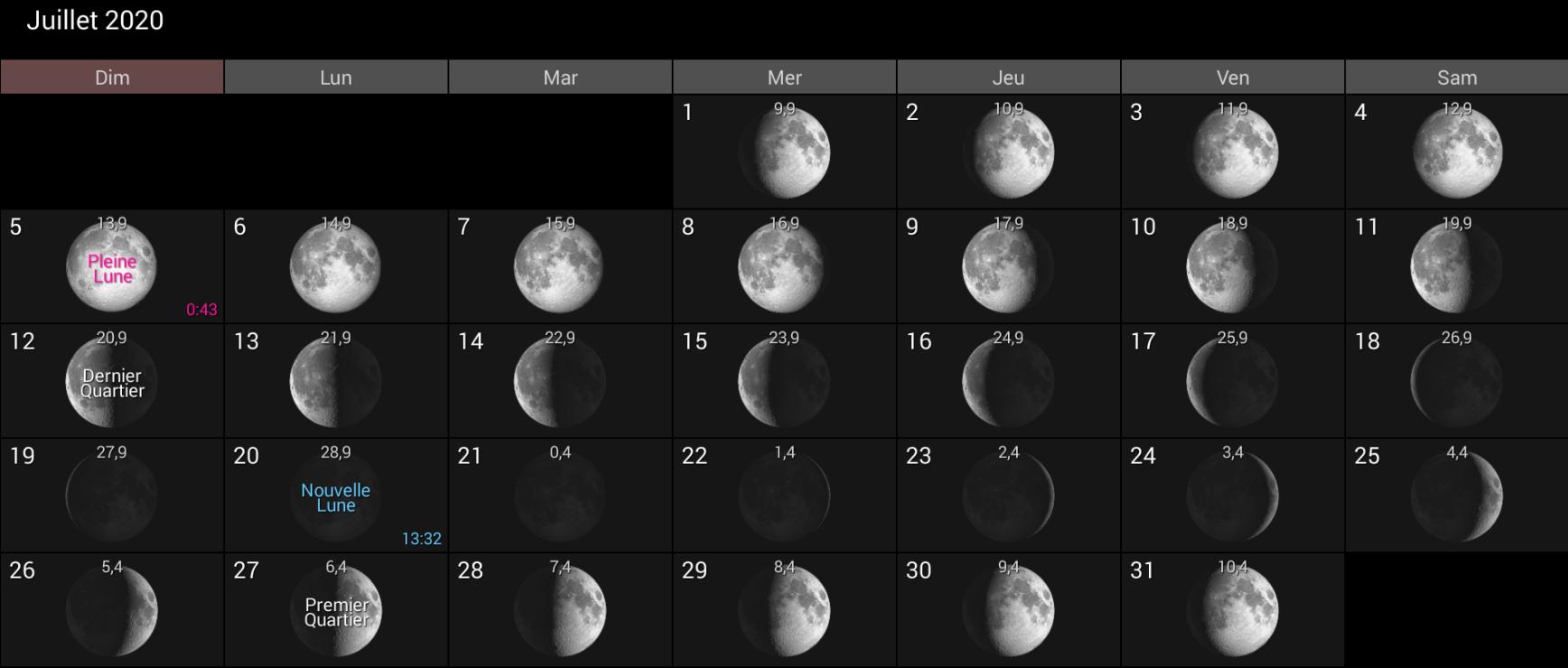 Les phases de la Lune pour de juillet 2020