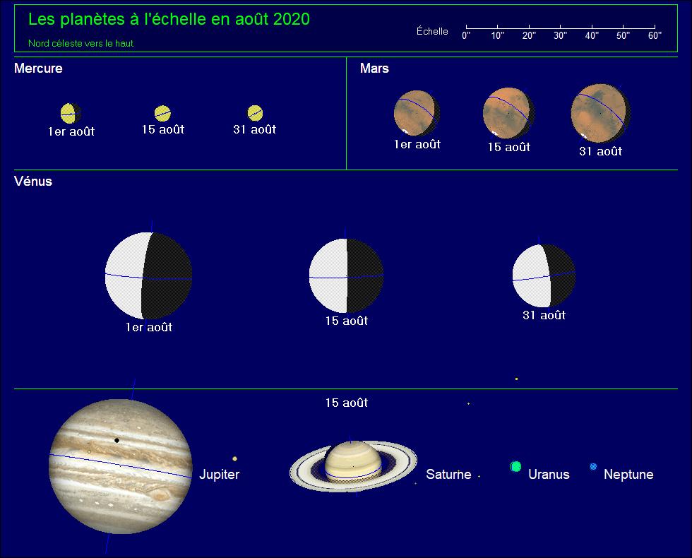 Les planètes à l'échelle pour le mois d'août 2020