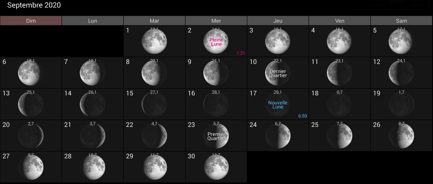 Les phases de la Lune pour le mois de septembre 2020