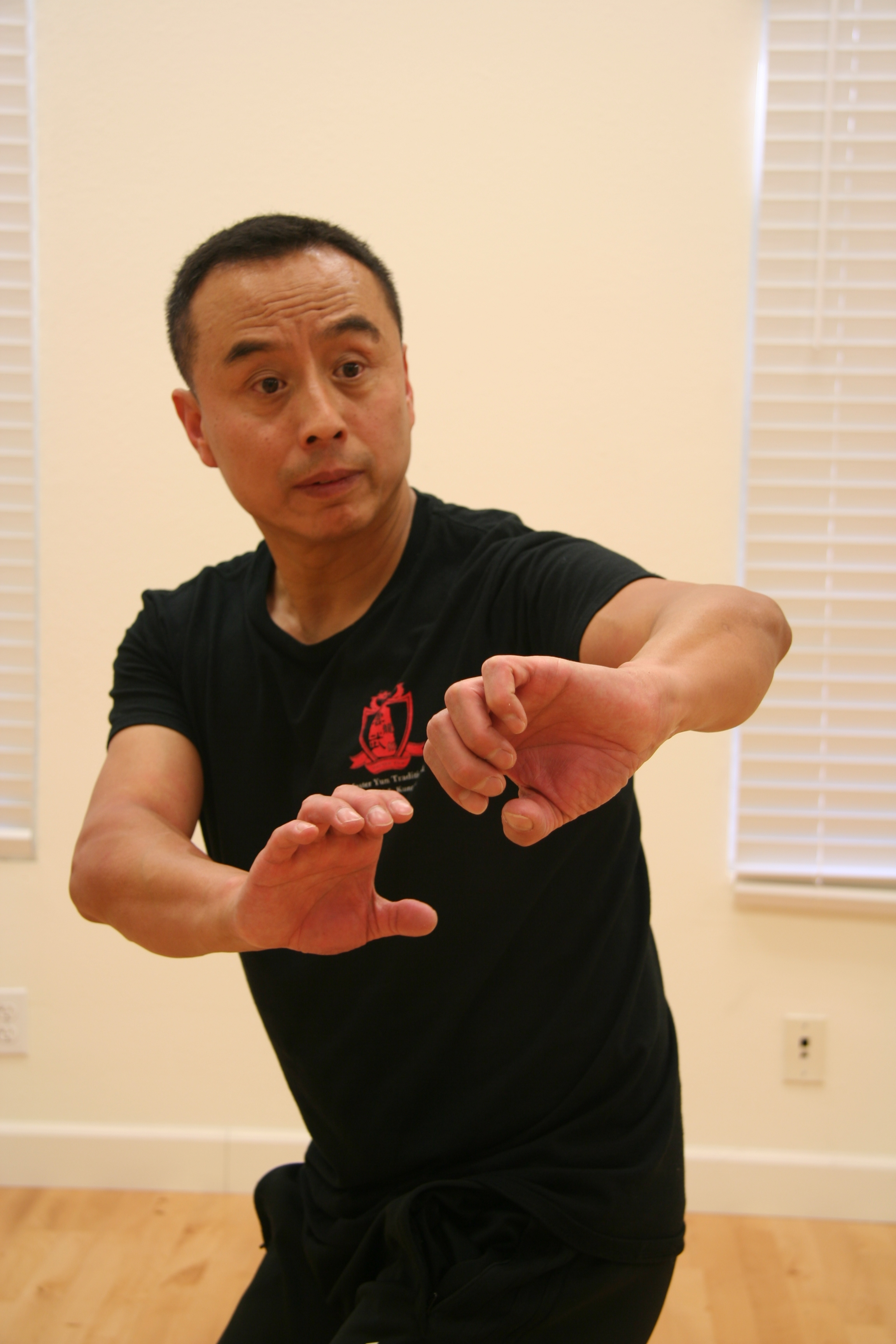 Master Yun in a Chuo Jian form pose.