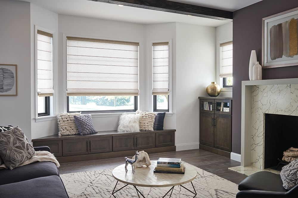 Roman shades enhance your space with texture, privacy and light-control. You choose the fabric, colour and features, including top-down / bottom-up and cordless.