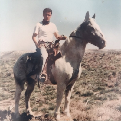 A young Alberto riding horseback in 1969 in the Sawtooth Mountains of Idaho.