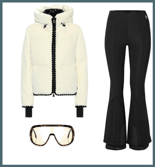 Emet velvet down ski jacket from Moncler , € 1,250.  Flared stretch ski pants from Moncler,  $745.  Epica ski sunglasses from Carrera , € 230.