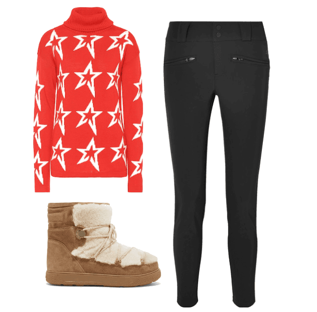 Merino wool stardust sweater from Perfect Moment , £235.00.  Aurora skinny ski pants from Perfect Moment , £295.  Fanny shearling-paneled glittered sueded snow boots from Moncler , $480.