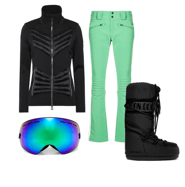 Aira quilted ski jacket from Toni Sailer,  £290.  Aurora ski pants nordic green from Perfect Moment ,£325.00.  Masque de ski effect miroir mountain mission from Perfect Moment , $150.  Moon Boot ,£105.