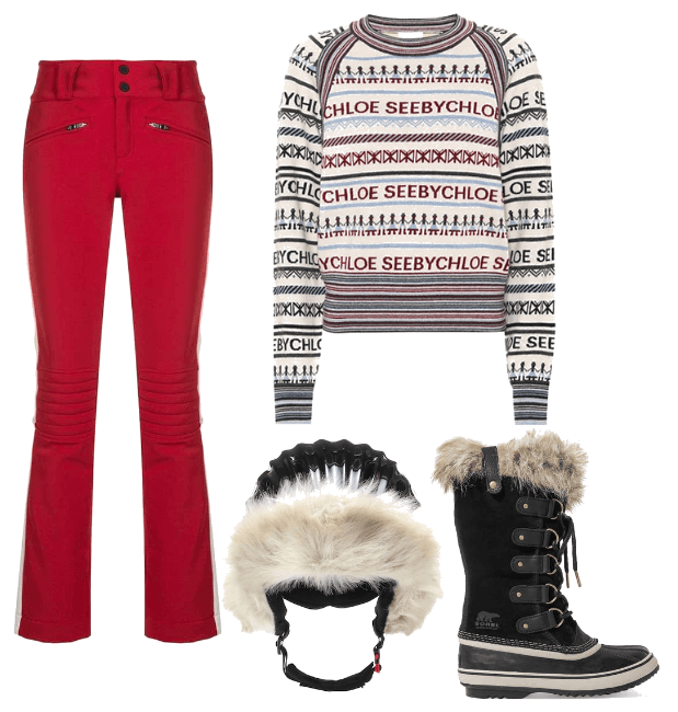 Aurora ski pants from Perfect Moment , £325.00.  Jacquard wool-blend sweater from See By Chloé,  € 220.  Waterproof sueded and rubber boots from Sorel , £165.  Polar star helmet from Perfect Moment , £225.00