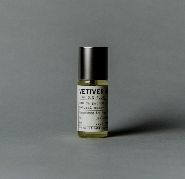 """eau de parfum from LE LABO    """"VETIVER 46""""     - €55.00  What LE LABO says:  The Rolls Royce of Vetivers, nurtured in Haiti and retired to Grasse in accord with local know-how, is the pillar of this perfume that, without a doubt, is the most masculine of all Le Labo creations!   Photo: www.lelabofragrances.com"""