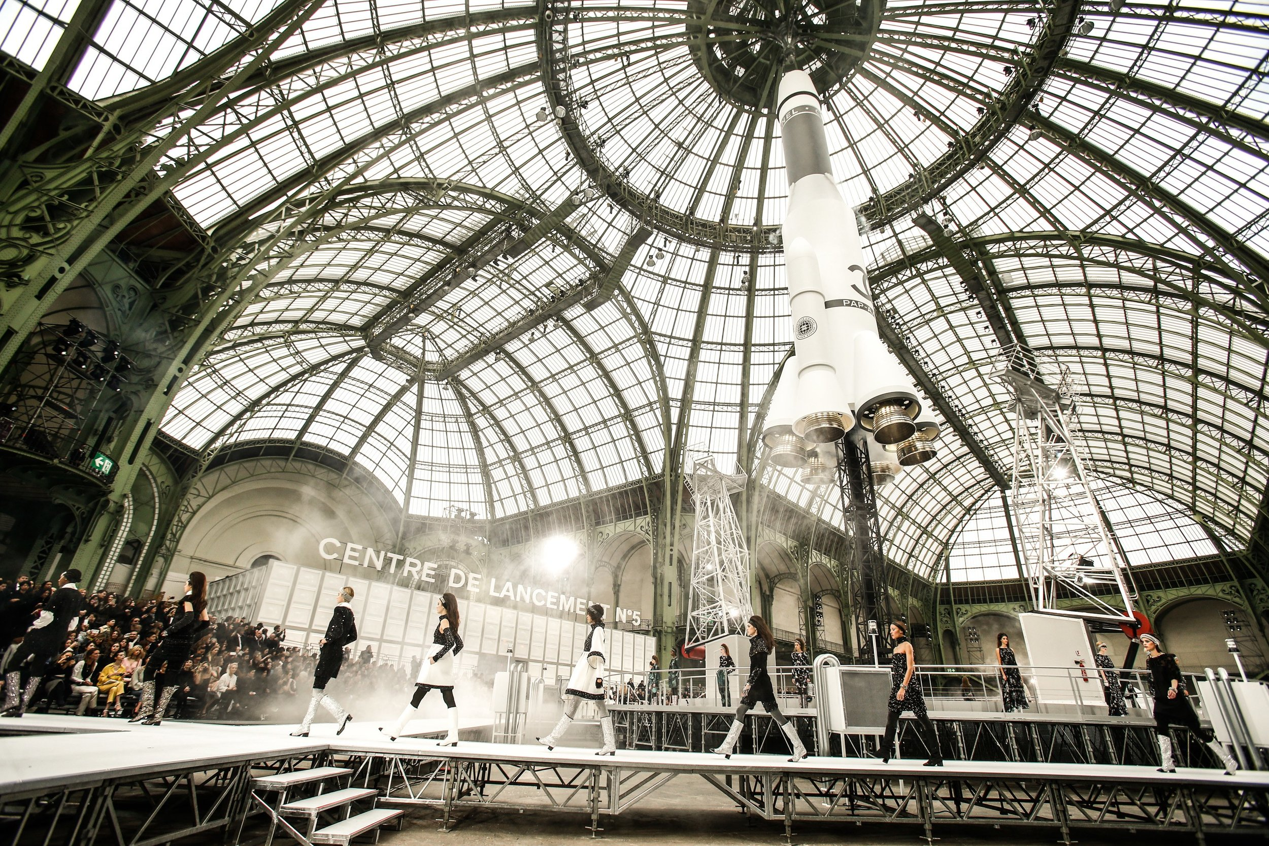 A life-size rocket launching in the Grand Palais. Photo: Alessandro Garofalo /  indigital.tv .