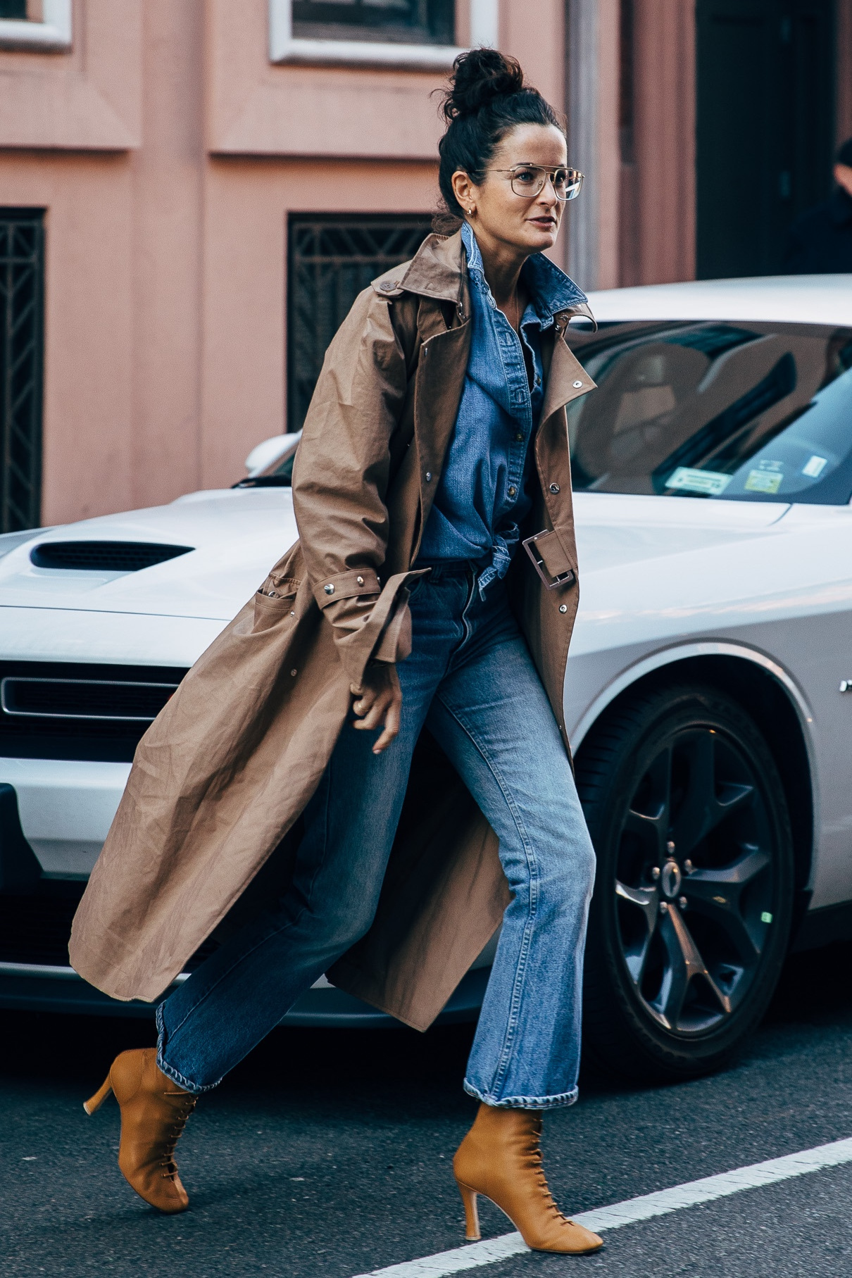 Lucy Chadwick  wearing this double denim outfit during New York Fashion Week earlier this year.