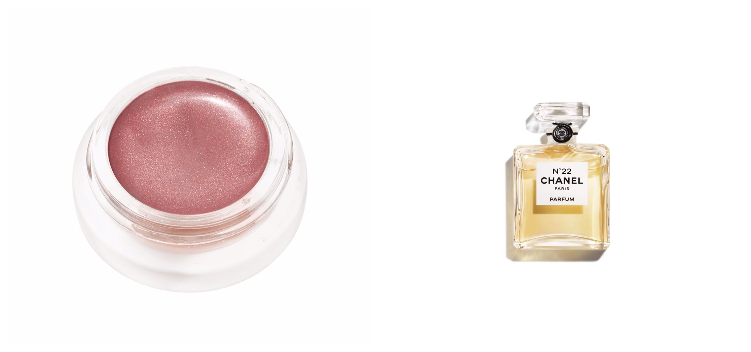 Left: The RMS creamy eyeshadow in color embrace, it   here.   Photo: RMS Beauty. Right: Chanel 22 Parfum, buy it   here.     Photo: Chanel.