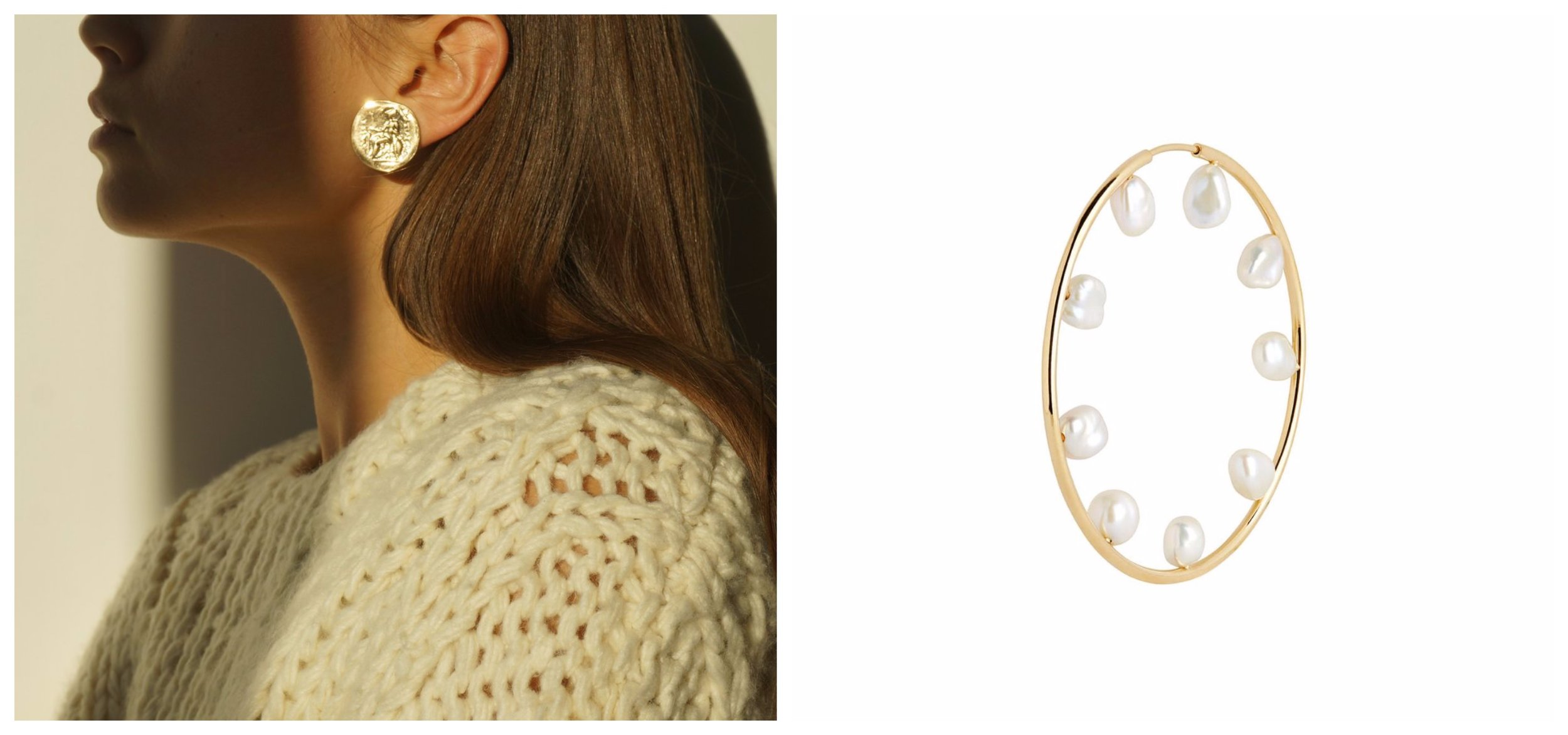 Left: Egyptian Coin Earrings from Marble Hive, buy them   here.     Photo: Marble Hive. Right: Baroque 50 Hoop from Maria Black, buy them   here.     Photo: Maria Black.
