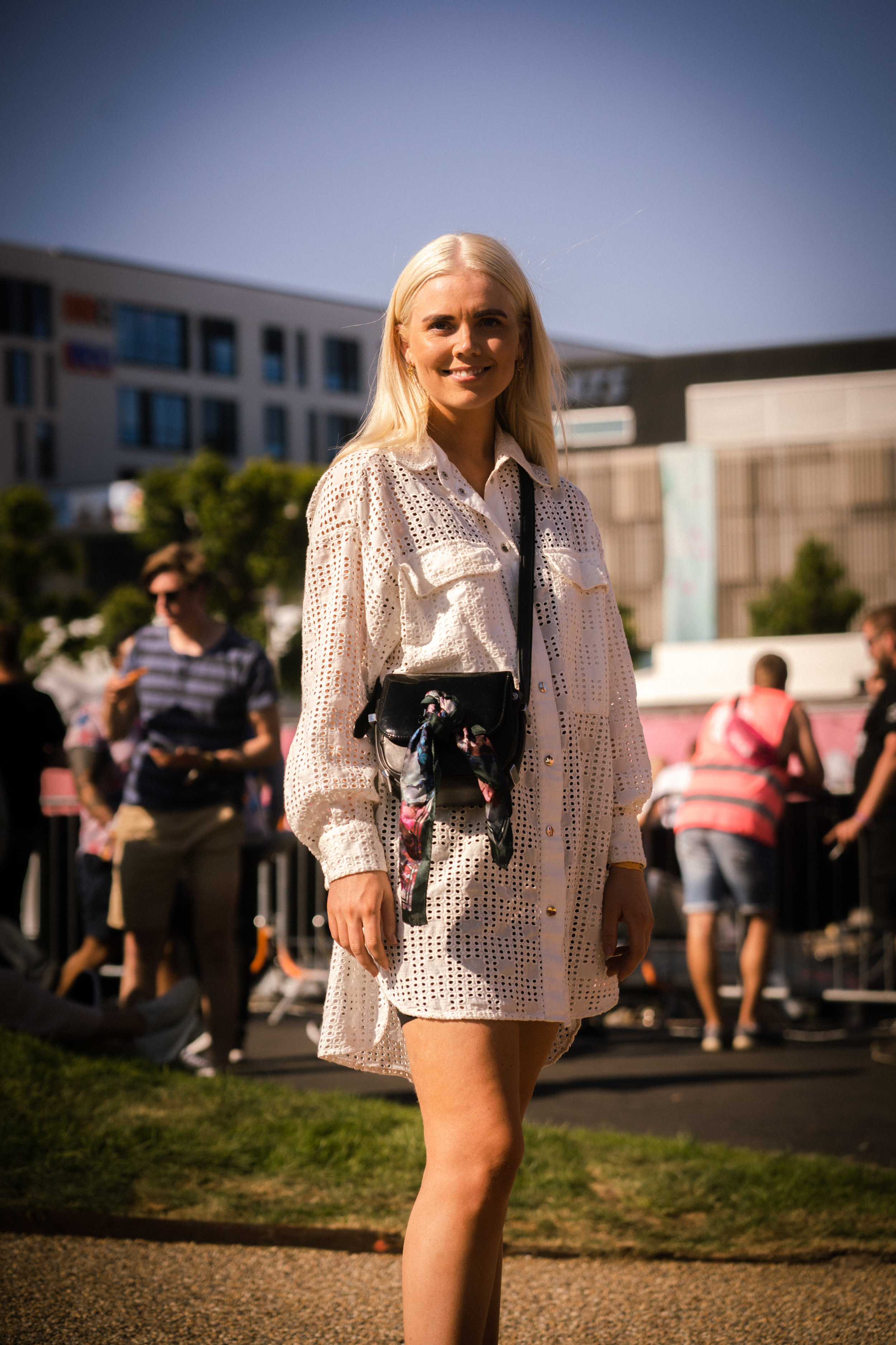 Celine Aaneland    looking beautiful in this white summer dress from Zara, a must in every wardrobe! Photo: Sander Berhus / Estér Magazine.