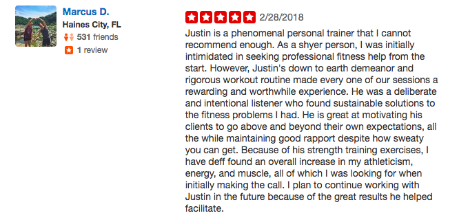 Marcus D's testimonial of Justin Zhang, a personal trainer in Santa Monica & West LA
