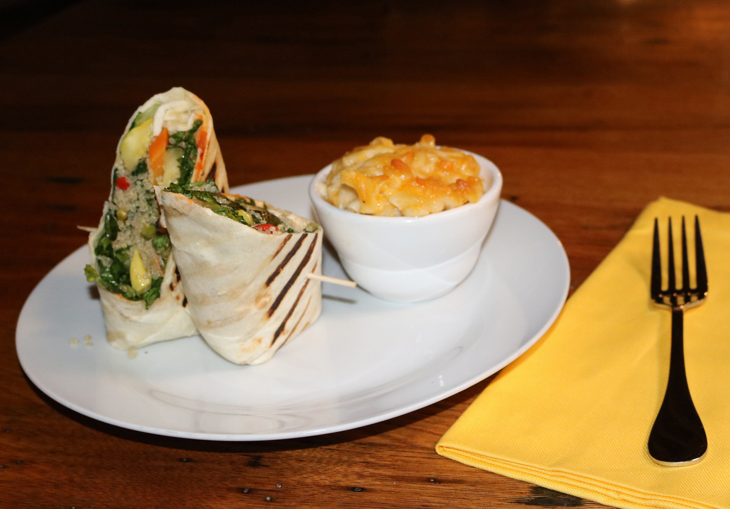 Grilled Vegetable Wrap With Lola's Mac-n-Cheese