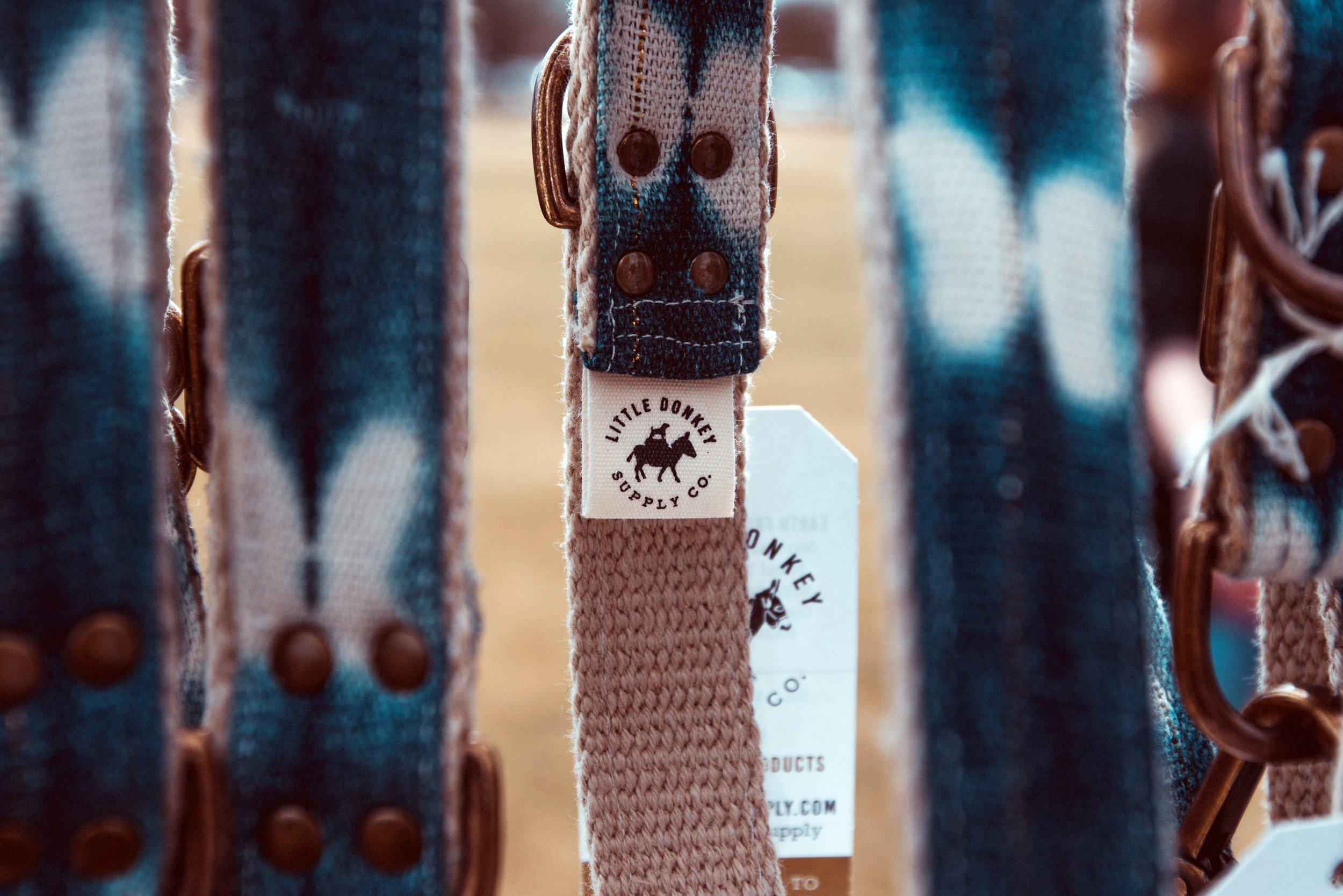 Vintage indigo dog collars