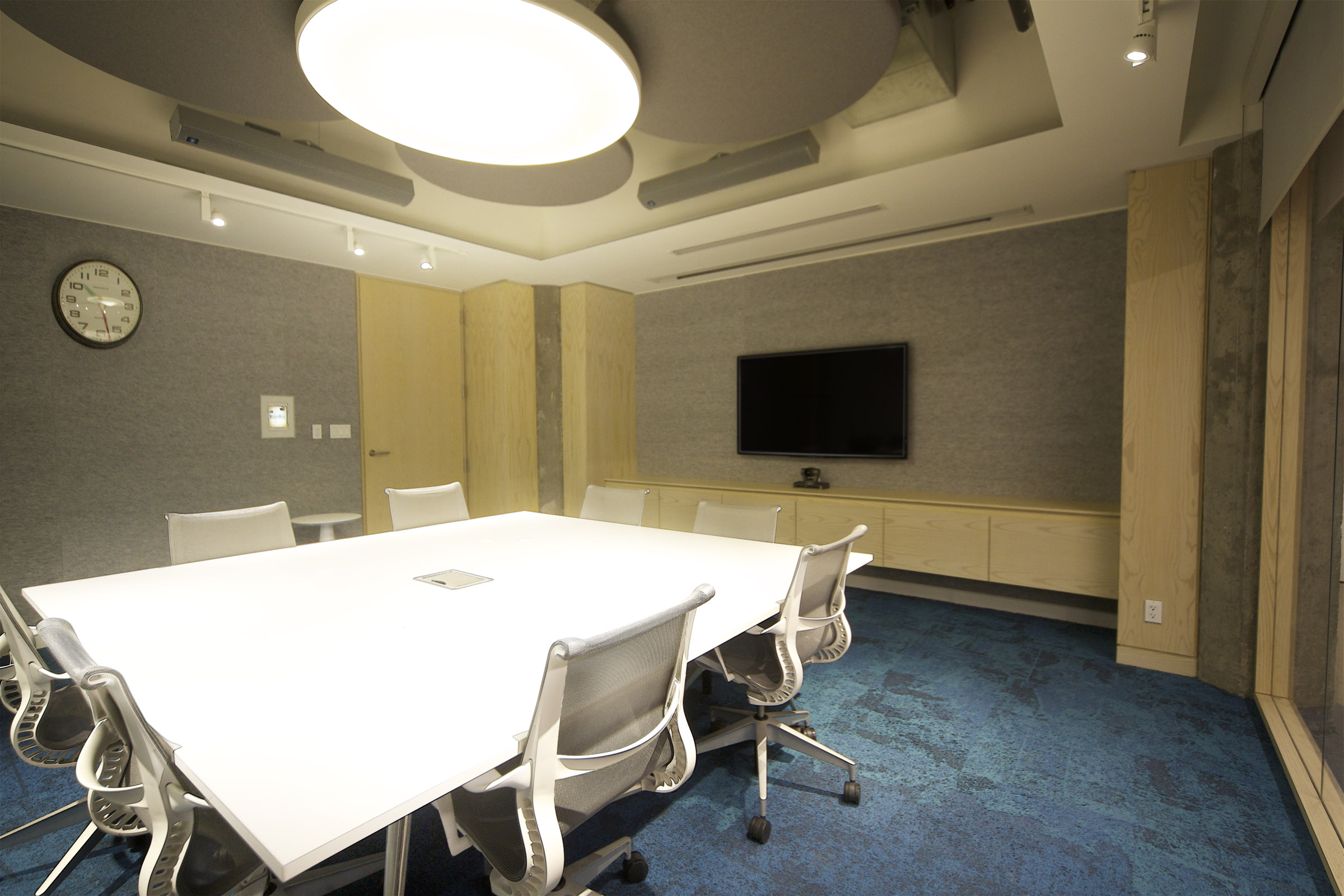 With eight, discrete, white, auto-levelling microphones in the tabletop, guests can enjoy a video or tele-conference without even thinking about the technology that's making it possible.