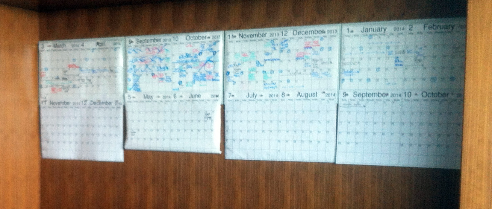 The previous calendar solution was a dry-erase poster method that was manually kept in sync with the Outlook calendars of the parents.