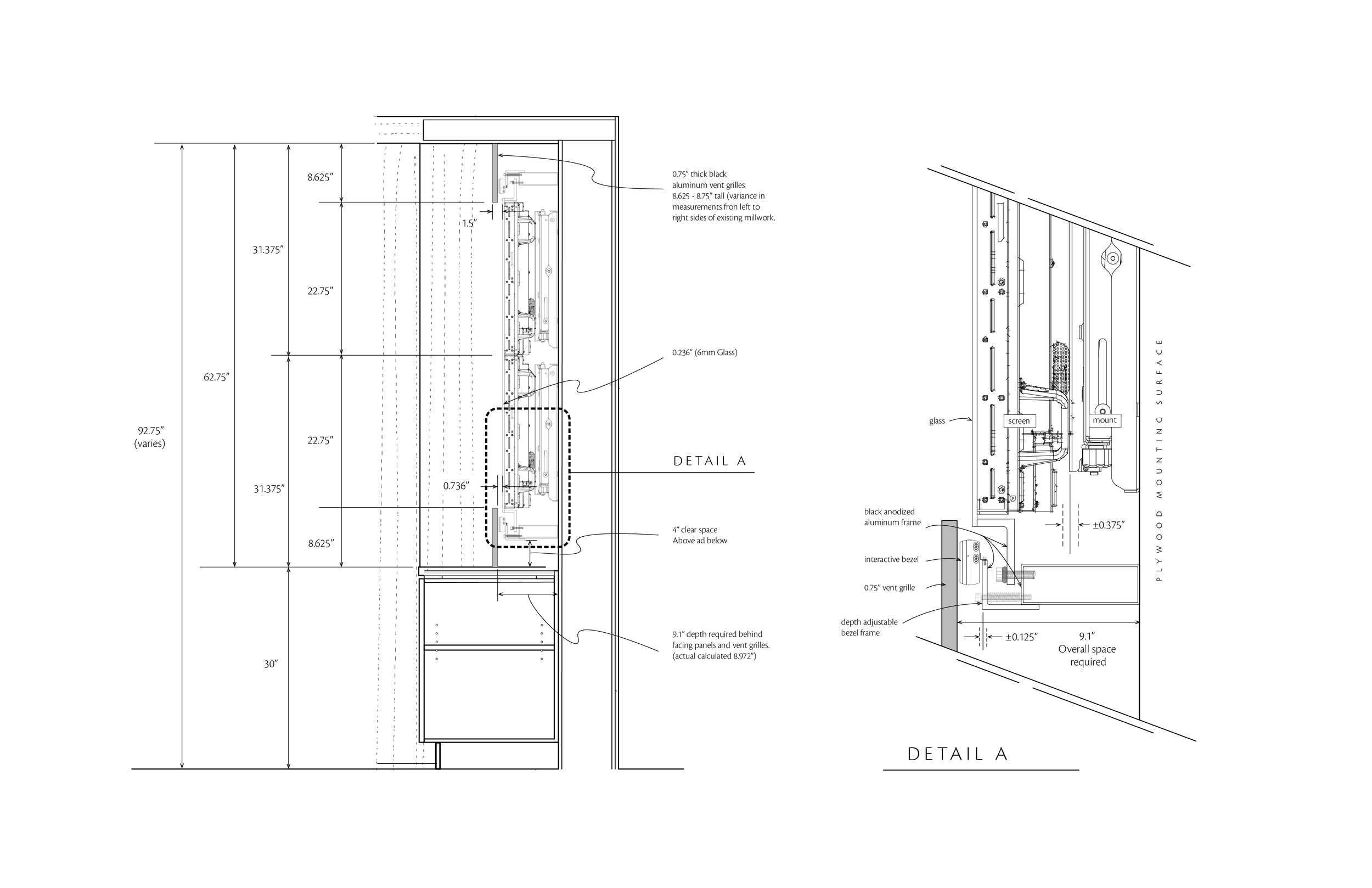 A small sample of the design effort that went into this project. This cross section shows the intricate assembly of millwork, screens and mounts, a tempered glass encasement, an infrared touch sensor that surrounds the screen with a mounting system for it that allows fine depth adjustment, and the vent grilles that sit above and below it all.