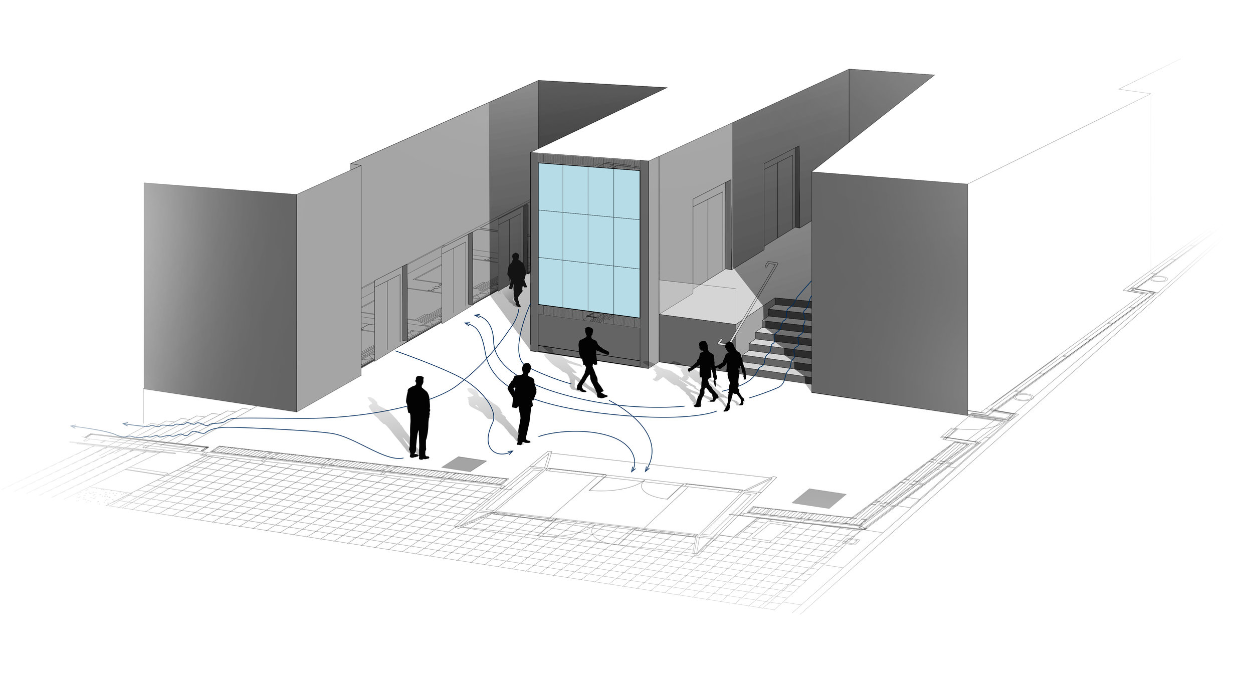 An overview of the lobby space and the predictable traffic patterns that would inform the location of the various sensors placed around the lobby, picking up on the movement of lobby guests.