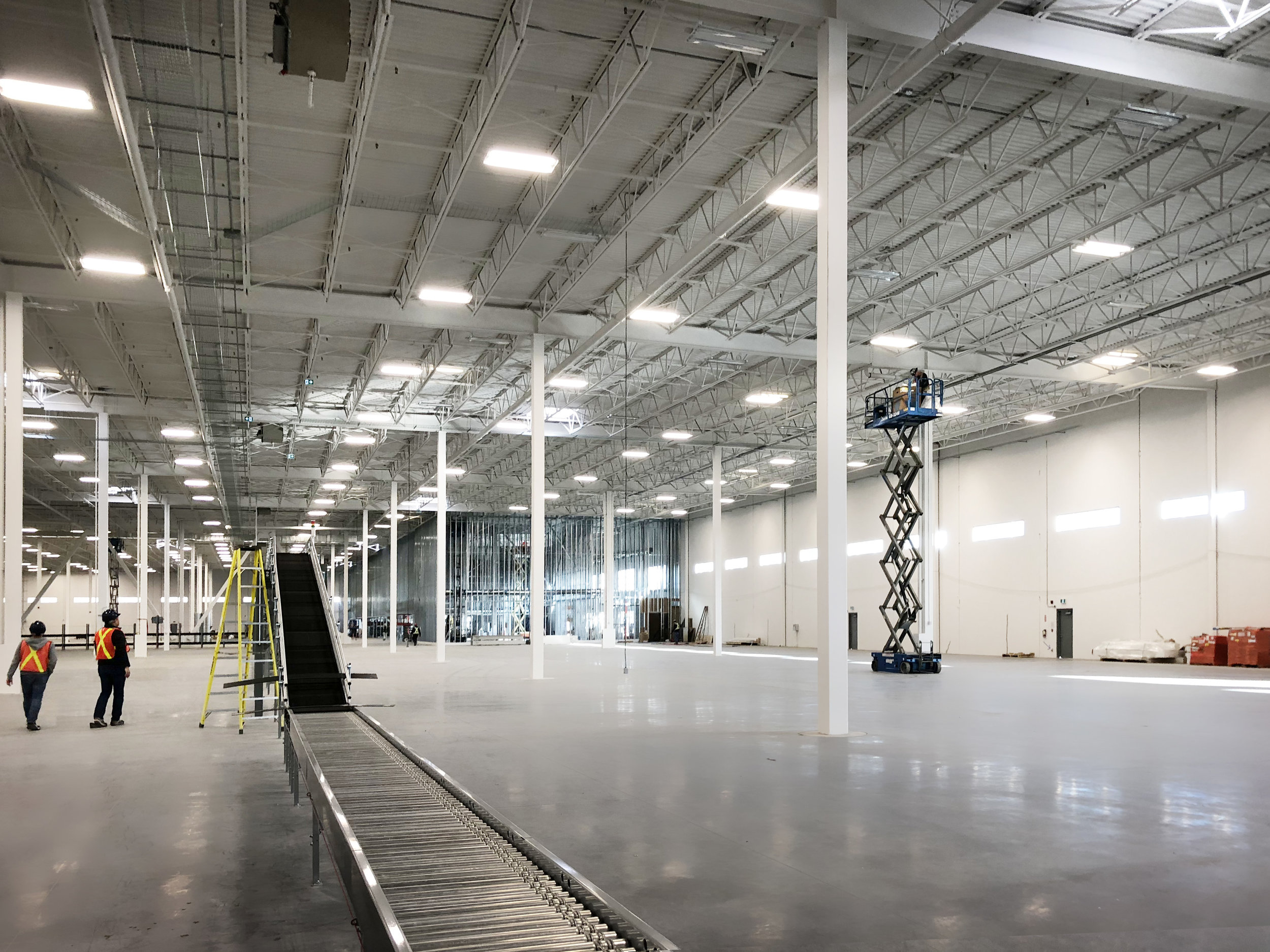 Conveyors were among the first items installed in the warehouse.