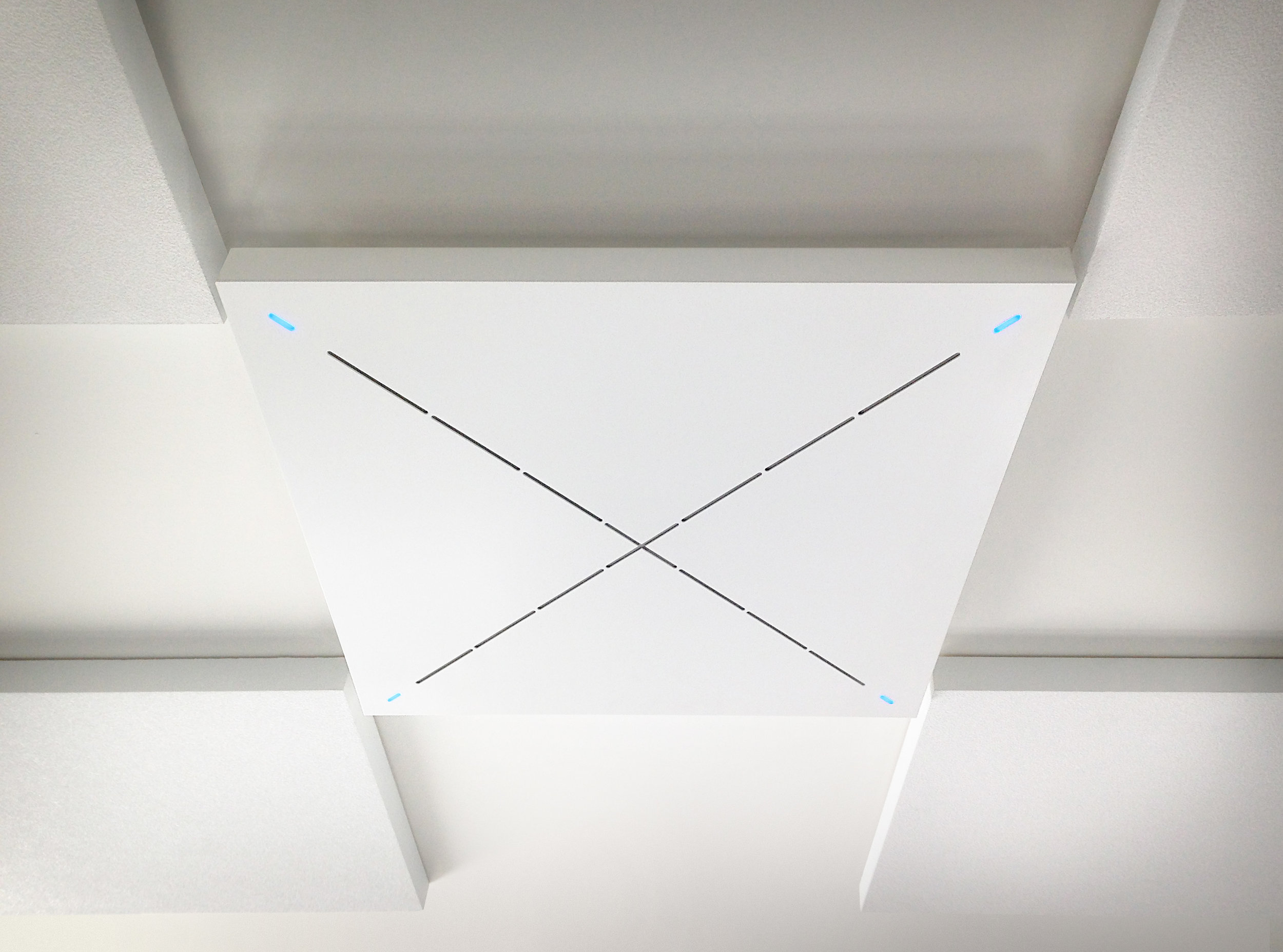 The Sennheiser Speechline Ceiling Microphone is a central feature of this ceiling, with it's distinctive X-shaped microphone array, this powerful beamforming microphone can isolate voices incredibly clearly out of large spaces with relatively poor acoustics.