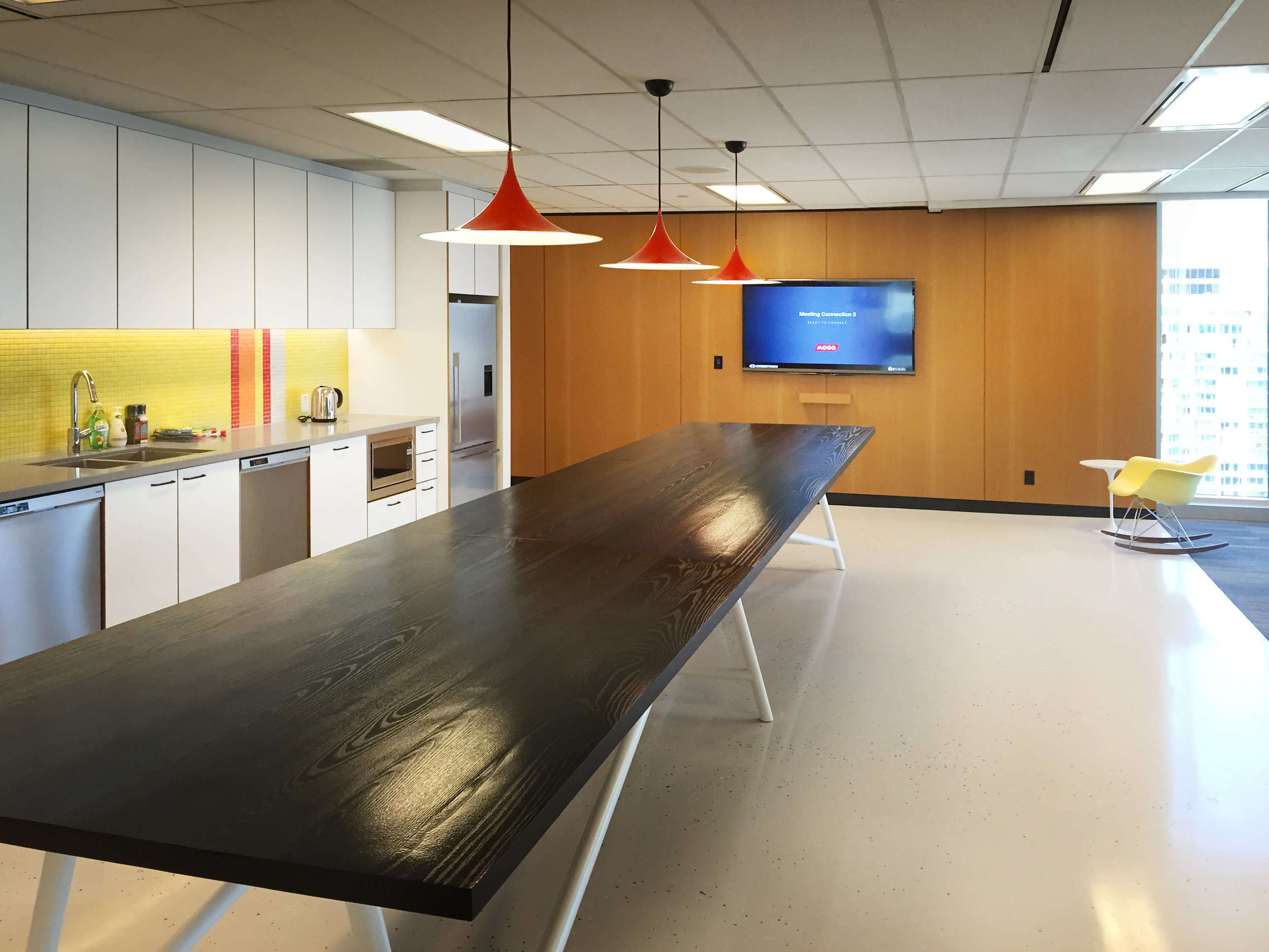 The lunchroom is an open, bright and inviting facility that offers a TV for the Canucks game, and doubles as a large gathering space, where the TV is available for video presentation.