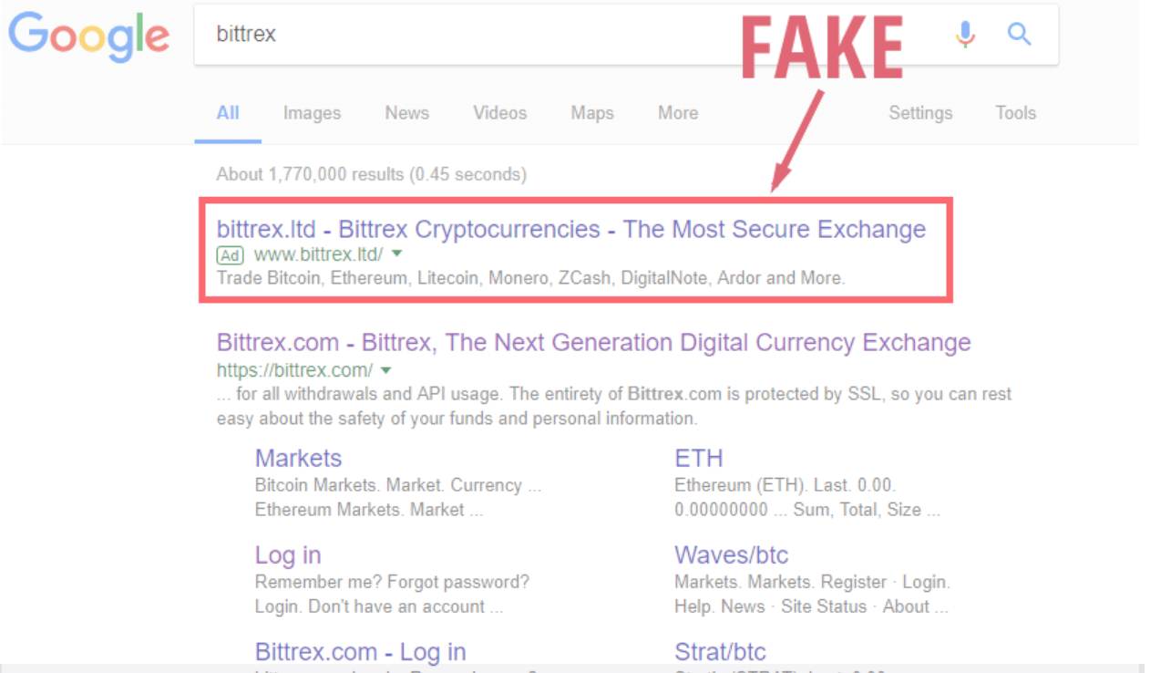 Phishers will sometimes buy Google ad space pretending to be a reputable company. | Source: Ethereum World News