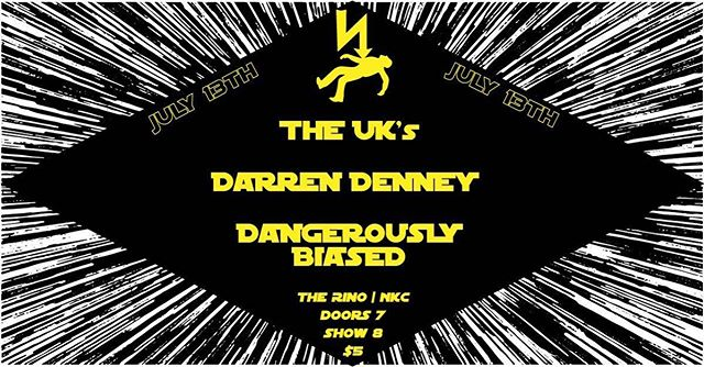 Tonight!!! @theuksband, @dangerouslybiased, and @darrendenney at @therinokc!! Only $5, see you there!  #show #concert #band #rock #punk #kc #nkc #therino #theuks #theuksband #dangerouslybiased #darrendenney #fun #saturday #party #colony #punkband #rockband #northkansascity #starwars #hyperspeed #lightspeed #lightsaber #shock