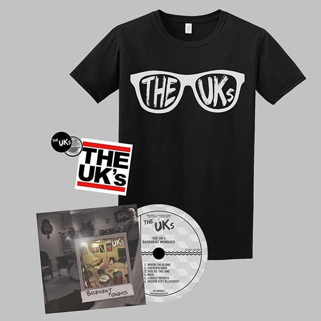 "PRE-ORDERS!!! You can now pre-order our ""Basement Mondays"" CD, new shirt, or bundle now on our website! We're taking pre-orders until Sept. 30th, so get your pre-orders in as soon as you can to ensure we get the size you need.  Link in bio!  #theuks #preorder #newmerch #theuksband #basementmondays #glasses #tshirt #shirt #cd #bundle #merch #merchdesign #website #sticker #button #cheap"