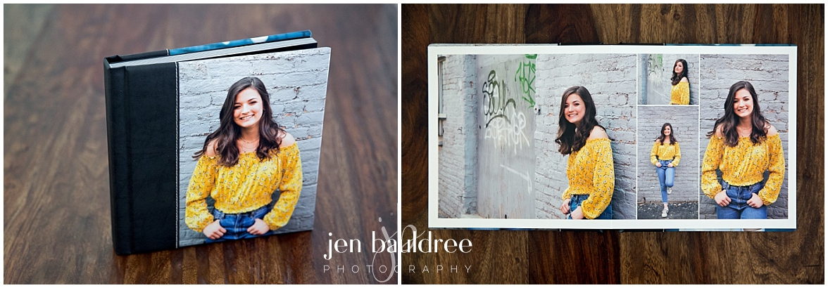 Margaret's gorgeous 10 page heirloom photo album preserves her favorite senior portraits.