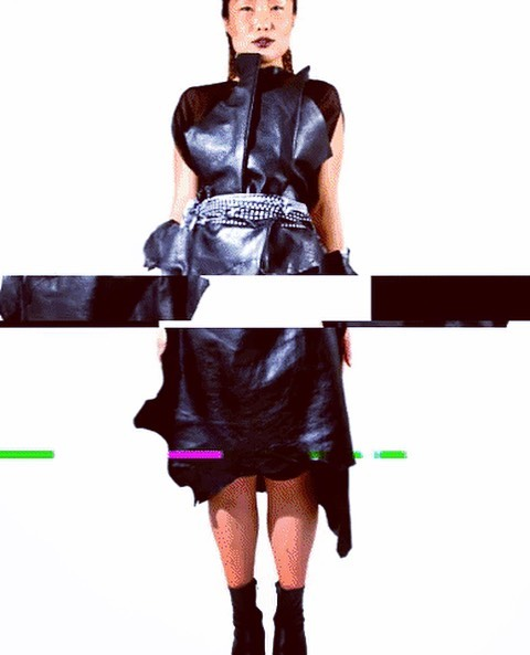 Leather Dress by @bumesi from Perplexico Collection worn on @messiahforsale now available on BUMESI.com #sustainablefasion #leatherdress #bumesinyc