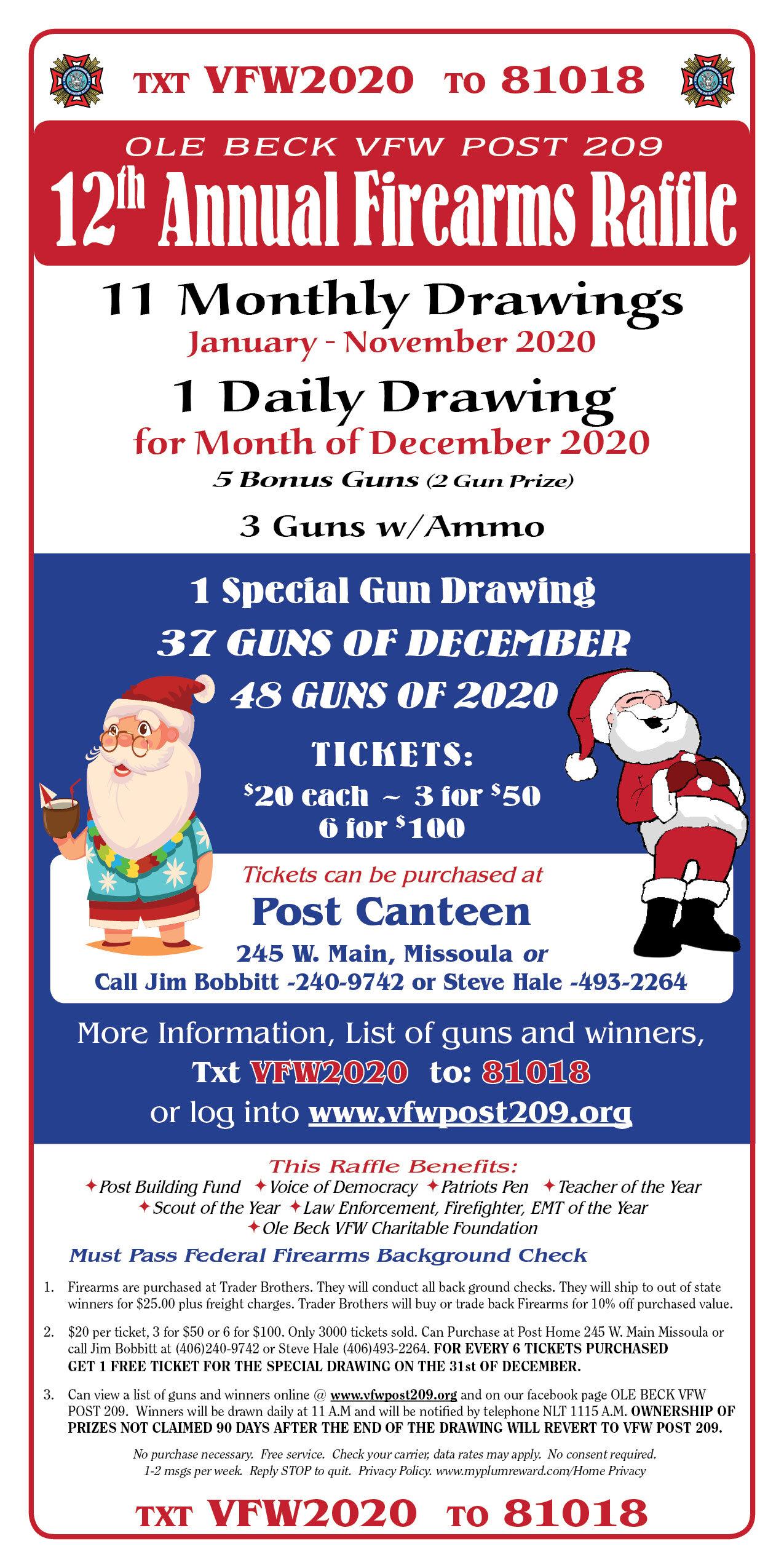 2020 No Christmas Bonus For 2 Years 2020 Annual Firearms Raffle — Ole Beck VFW Post 209